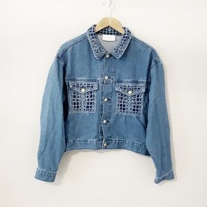 CACHE jean jacket with embroidery and beads